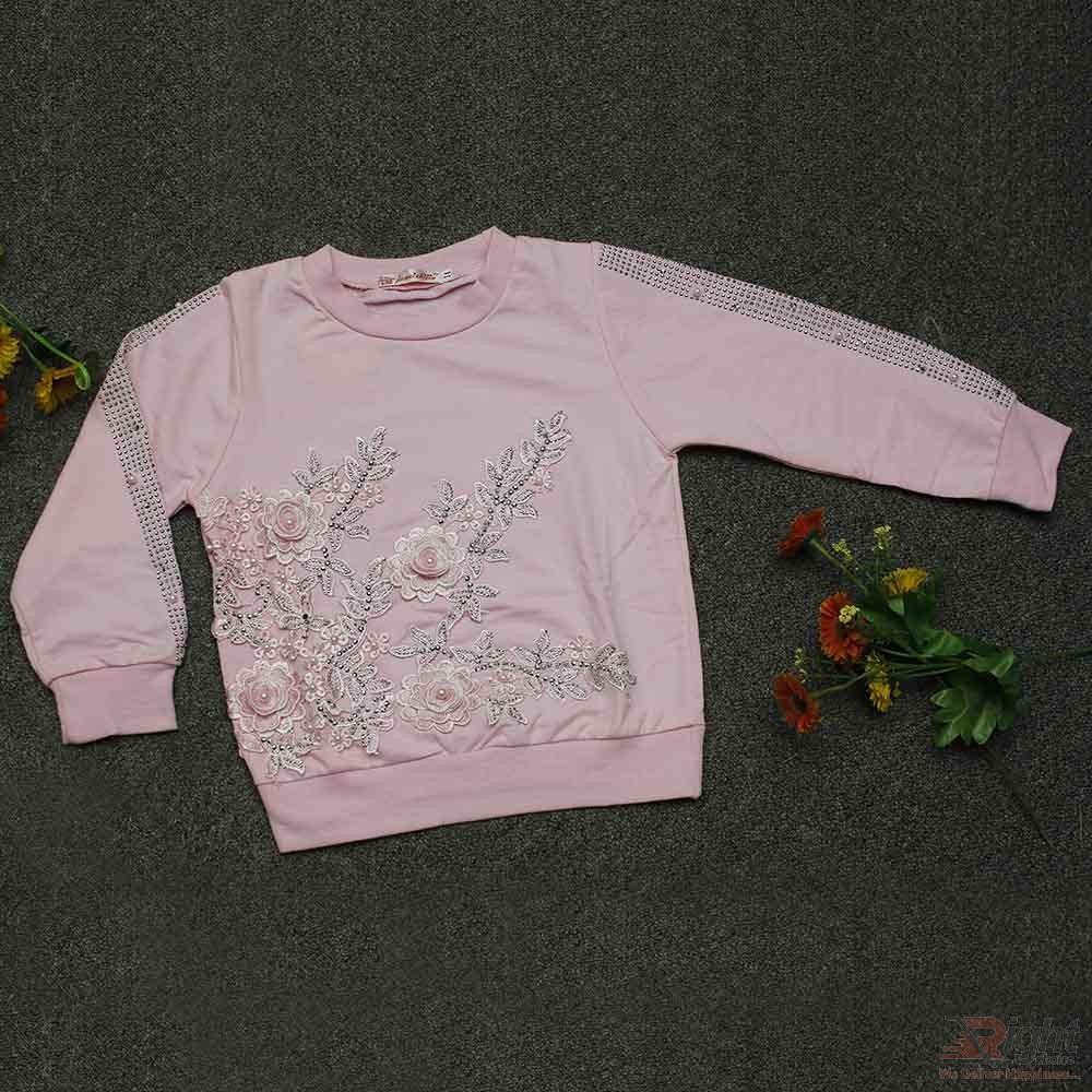 Flower Printed Full Sleeve Baby Girls T-Shirt