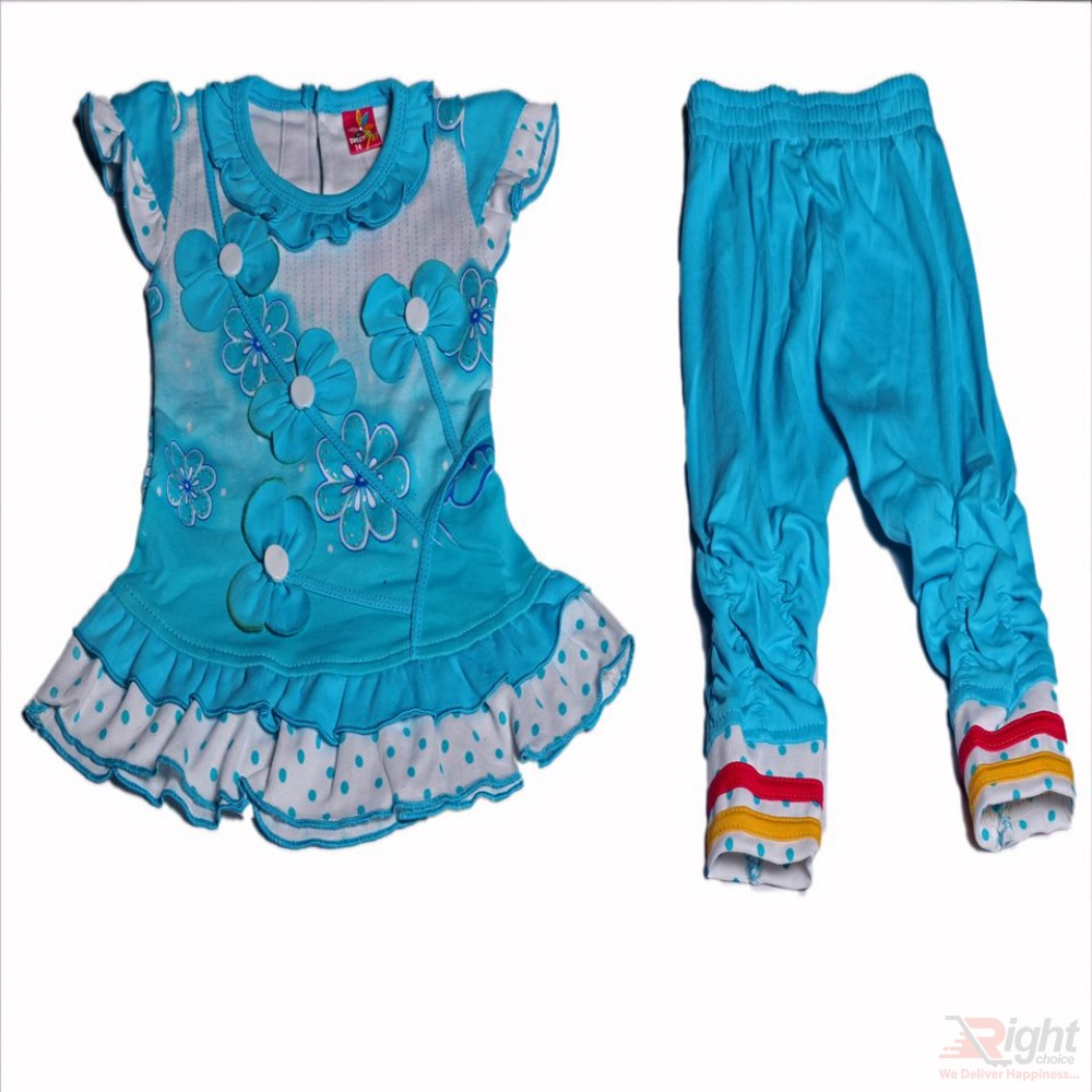 Flower Design Baby Girls Dress With Pants