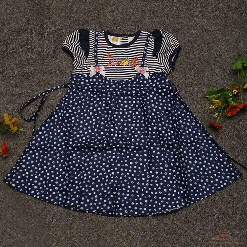 Beautiful Cat Printed Dotted Baby Girls Dress