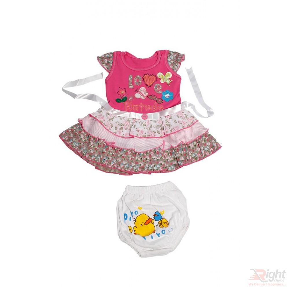 Love Printed Baby Girls Dress with Half-Pants