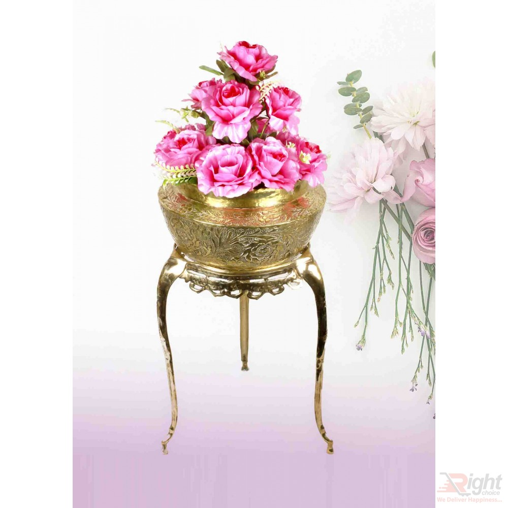Pitol Small Tob and Stand Set With Pink Flowers