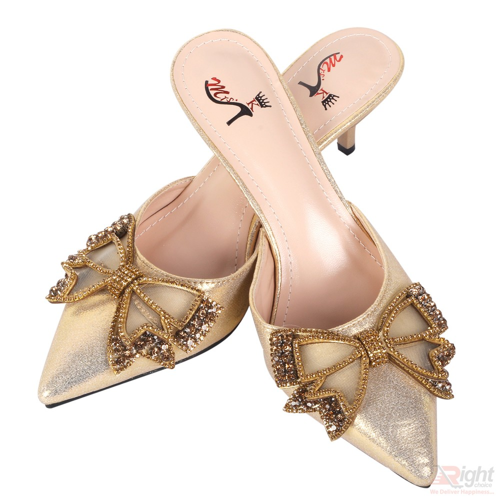 High heels ladies gold color Shoe