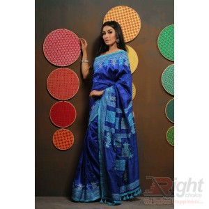 Blue Endi Silk Sharee Block Print & Karchupi Work