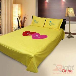Cotton Twill Bed Sheet Set - 8.5/7.5 Feet - Yellow