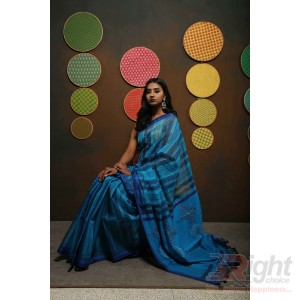 Blue Firoja Stripe Block Print Khatha Stich Half Silk Saree