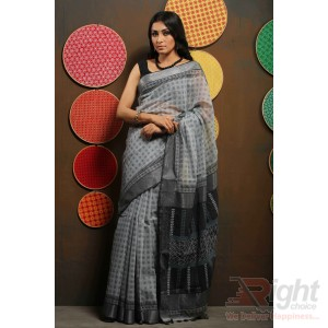 Gray Colour Half Silk Saree Block Print and stitch