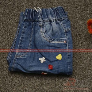 Love Printed Baby Girls Jeans Pant