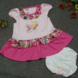 Bee Printed Baby Girls Dress with Half-Pants
