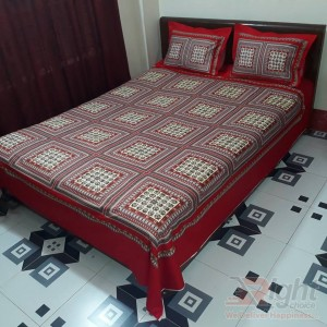 Cotton King Size Bed Sheet - Red