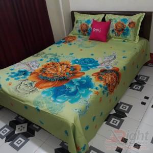 Cotton Print King Size Bed Sheet - Lemon