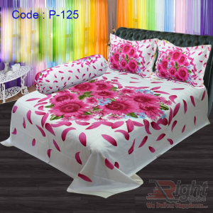 Panel Twill Bed Sheet Set - 8.5/7.5 Feet - White and Pink