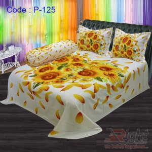 Cotton Print Bed Sheet Set - 8.5/7.5 Feet - Yellow and White