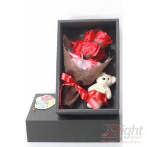 Valentine Gift Set(Beautiful Bunch of roses  with teddy bear Box)