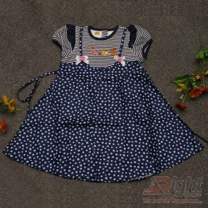 Beautiful Cat Printed Dotted Baby Girls Dress