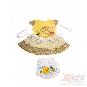 Love Printed Baby Girls Dress with Half-Pants