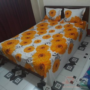Flower print Cotton  Bed Sheet Set  - Yellow and White