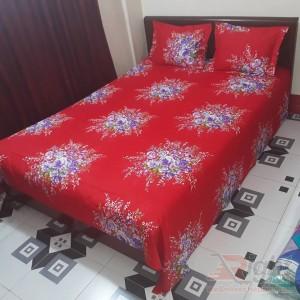 Cotton Bed Sheet Set - 7.5/8 Feet - Red