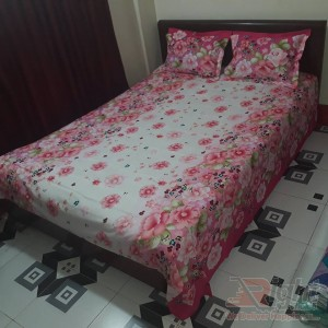 Flower print Cotton Bed Sheet Set  - White and Pink