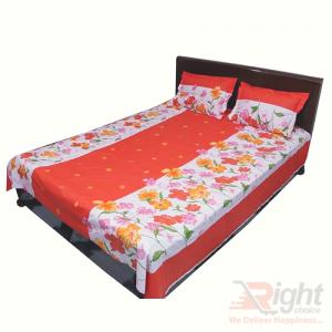 Orange Color Cotton King Size Bedsheet