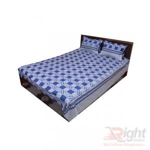 Blue Cotton Double Size Bedsheet