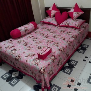 Pink color Cotton Twill Fabrics Bed sheet Set