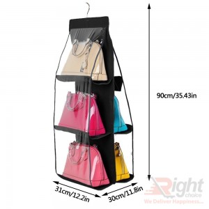 6 Pocket Handbag Anti-Dust Cover Clear Hanging Closet Bag Organizer