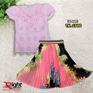 Baby Girls Printed Skirt and Frock Set