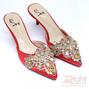High heels ladies red color party Shoe