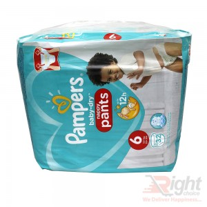 Pampers Baby-Dry Nappy Pants  Size 6 (XXL) Weight 15+kg