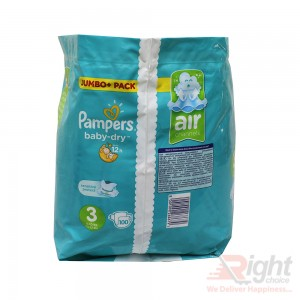 Pampers Baby-Dry Size-3 (100 Nappies) Weight:6-10kg