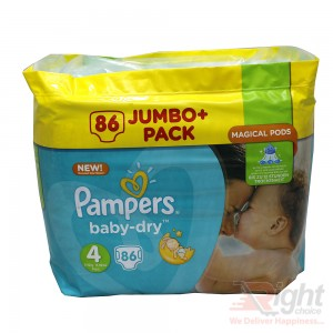 Pampers Baby-Dry Size-4 (86 Nappies Jumbo Pack) Weight:8-16kg