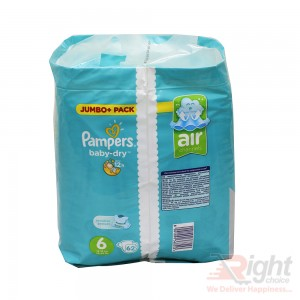 Pampers Baby-Dry Size-6 (62 Nappies Jumbo Pack) Weight:13-18kg