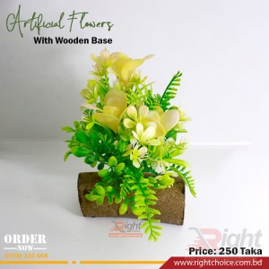 Artificial Flower With Wooden Base