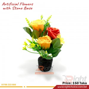 Artificial Rose With Stone Base