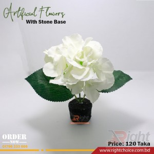Artificial White Flower With Stone Base