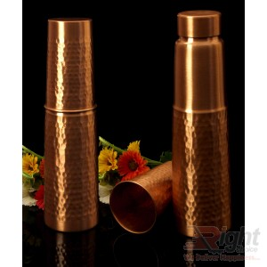 copper water bottle with glass(Combo _01)