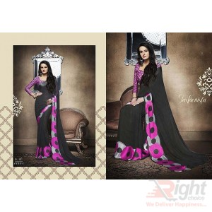 Indian Designer Black & Light Pink color Printed Georgette Party Wear Sharee