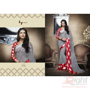 Indian Designer Ash & Red color Printed Georgette Party Wear Sharee