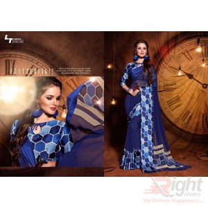 Indian Designer Dark Blue color Printed Georgette Party Wear Sharee