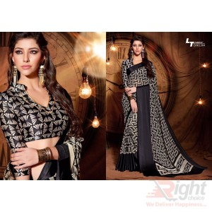 Indian Designer Black color Printed Georgette Party Wear Sharee