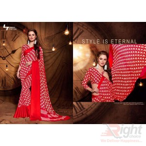 Indian Designer Red & White Mixed color Printed Georgette Party Wear Sharee