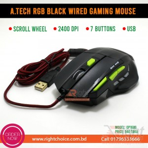 A.TECH RGB BLACK WIRED GAMING MOUSE