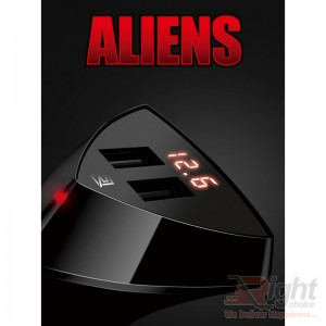 RCC-208 ALIENS LED DISPLAY 2 USB 3.4A CAR CHARGER