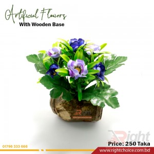 Multi Artificial Flower With Wooden Base