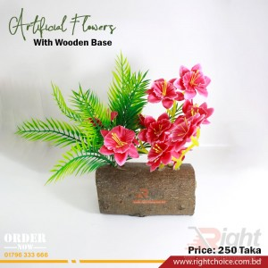 Pink Color Artificial Flower With Wooden Base
