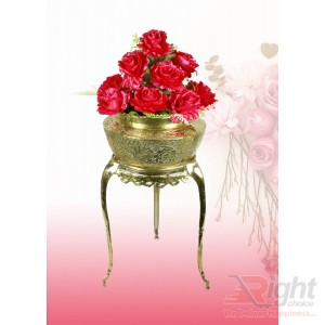 Pitol Small Tob and Stand Set With Red Flowers