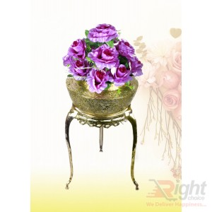 Pitol Small Tob and Stand Set With Violet Flowers