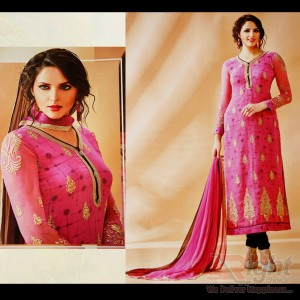Original Indian (Rose Fashion) Pink Color Georgette Unstitch Salwar Kamiz