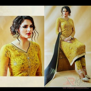 Original Indian (Rose fashion)Yellow Color Georgette Unstitch Salwar Kameez