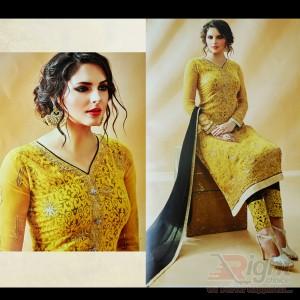 Original Indian (Rose fashion)Yellow Color Georgette Unstitch Salwar Kameez